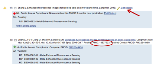 Figure 1: Manually added citation (top) and its PubMed duplicate (bottom) with PMID 18837523. The red arrow indicates where to click to edit the manually added citation.