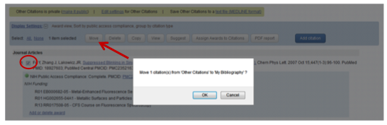 "Figure 3: Upon checking the duplicate in ""Other Citations"" (circled), use the move button (arrow) to remove the duplicate."