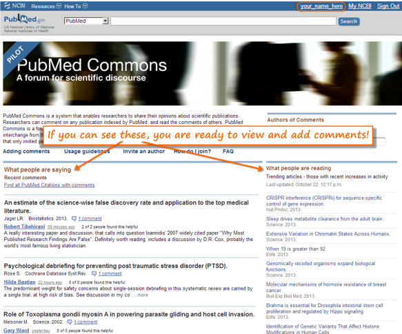 "Figure 1 – PubMed Commons home page that will appear for someone who is a PubMed Commons participant. Their My NCBI user name will appear in the upper right (circled), indicating that they are logged in to My NCBI, and the ""What people are saying"" and ""What people are reading"" sections will appear."