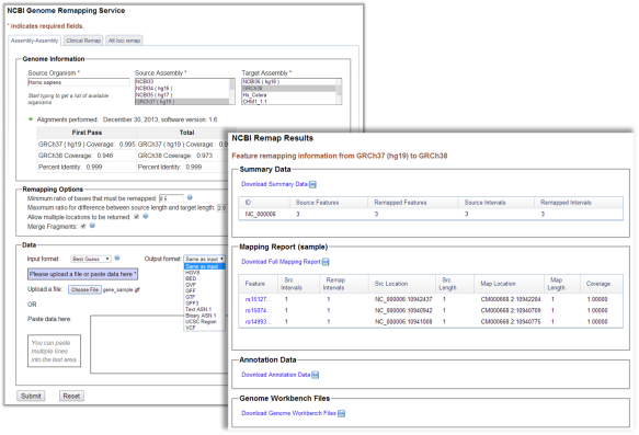 Figure 1.  Screenshots of the NCBI Genome Remapping Service. This example shows the coordinate mapping from GRCh37 to the new GRCh38 assembly for three SNP positions using a GFF file.