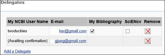 Figure 4. My NCBI Account Settings page Delegates section.