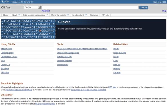 clinvar homepage