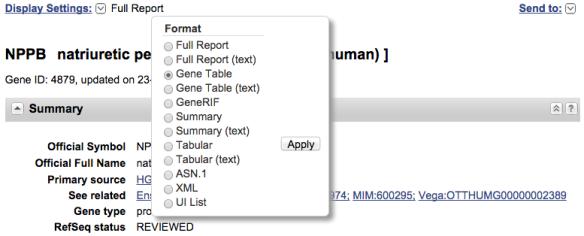 display settings gene table