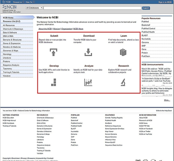 Figure 1. The NCBI homepage. The new action buttons are outlined in red.