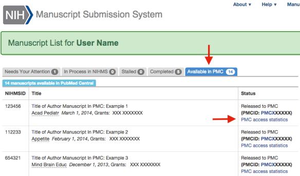 NIHMS manuscript list