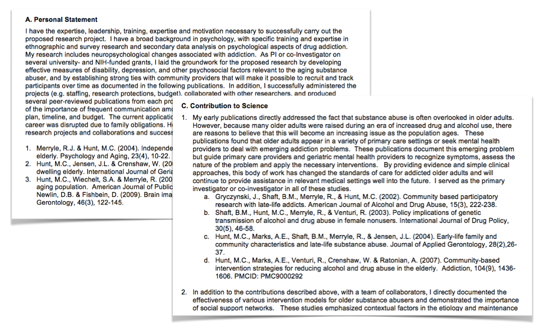 nih biosketch template word - sciencv updated to support new nih biosketch format ncbi