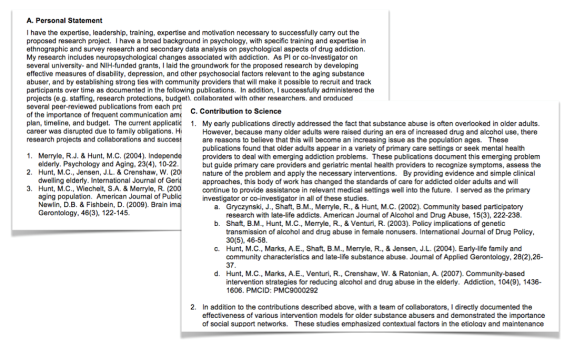Figure 1. Sections A (Personal Statement) and C (Contribution to Science) in the new NIH Biosketch format.