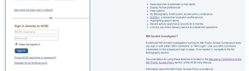 my ncbi login page