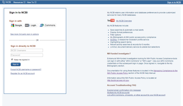 my ncbi login page