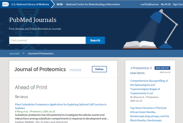 The PubMed Journals home page.