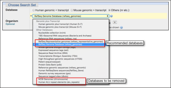 Ncbi replacing obsolete ncbi genomes chromosome and removing human nucleotide nucleotide blast database menu stopboris Image collections