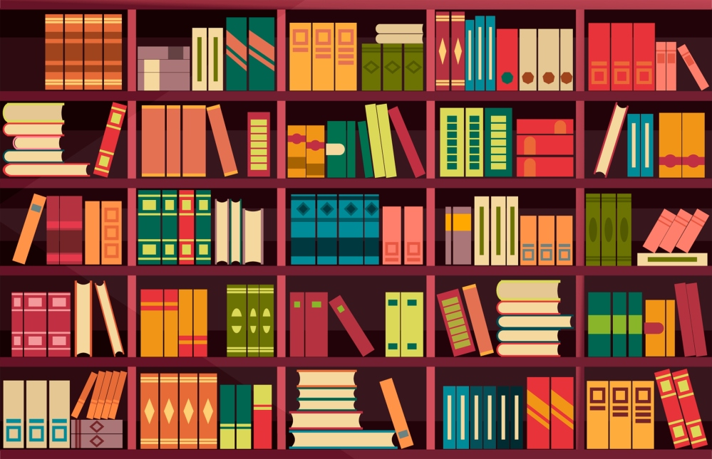 illustration of a bookshelf with books on it
