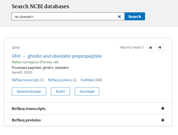 Search results for peptide hormone 'rat obestatin' in NCBI's All Databases search page