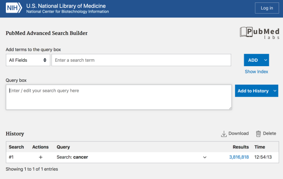 advanced search pubmed