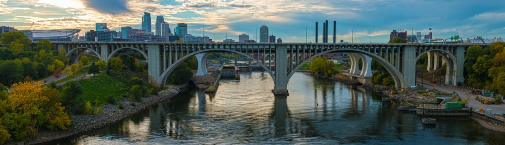 Bridges Over the Mississippi River and Skyline in Minneapolis